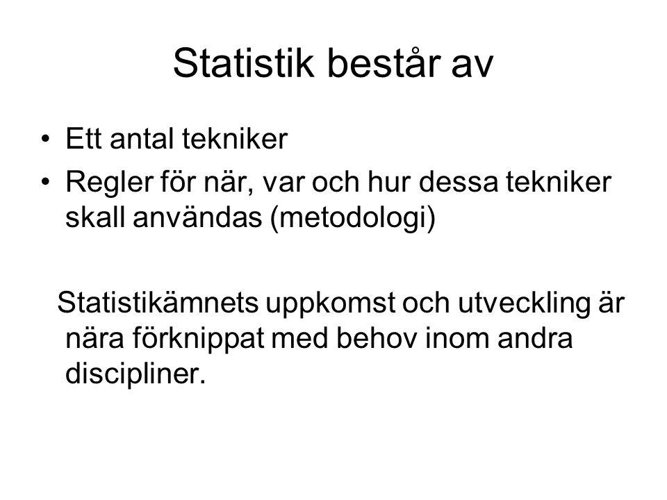 Statistik består av Ett antal tekniker Regler för när, var och hur dessa tekniker skall användas (metodologi) Statistikämnets uppkomst och utveckling