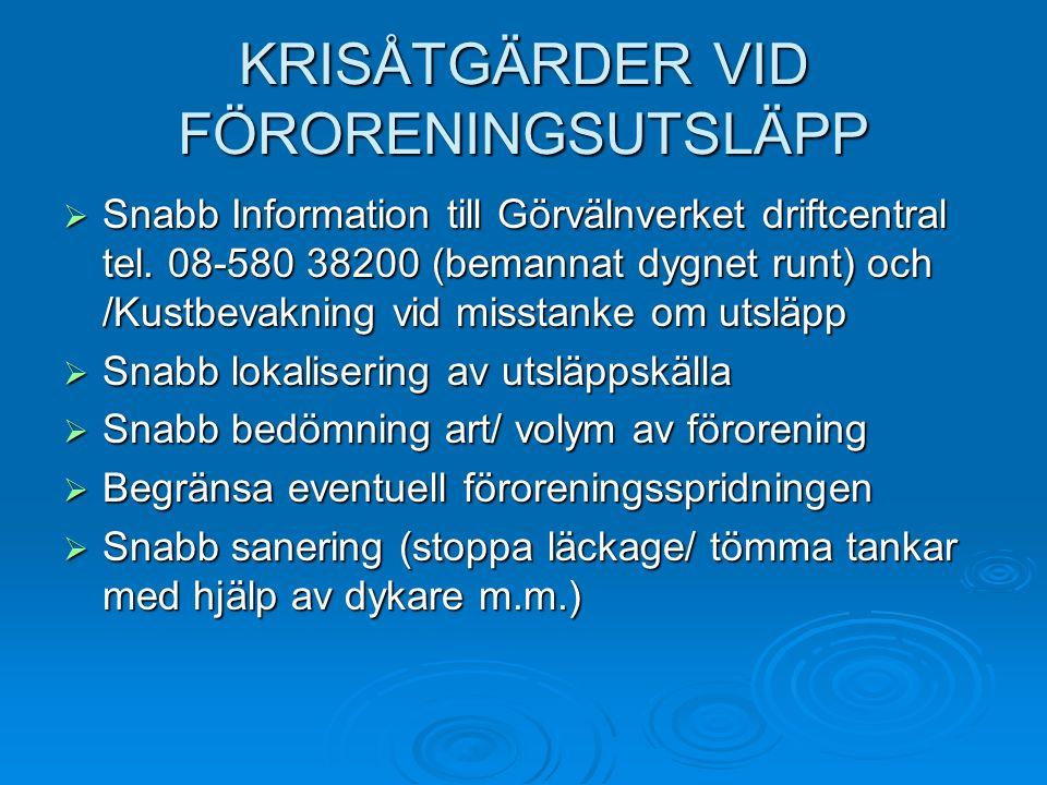 KRISÅTGÄRDER VID FÖRORENINGSUTSLÄPP  Snabb Information till Görvälnverket driftcentral tel.