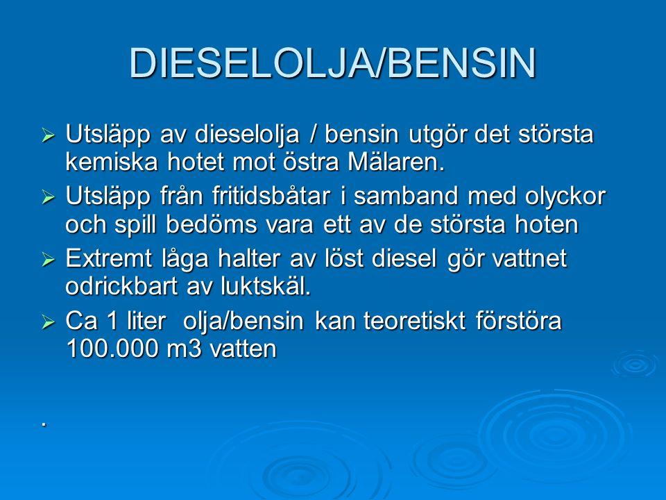 DIESELOLJA/BENSIN  Utsläpp av dieselolja / bensin utgör det största kemiska hotet mot östra Mälaren.