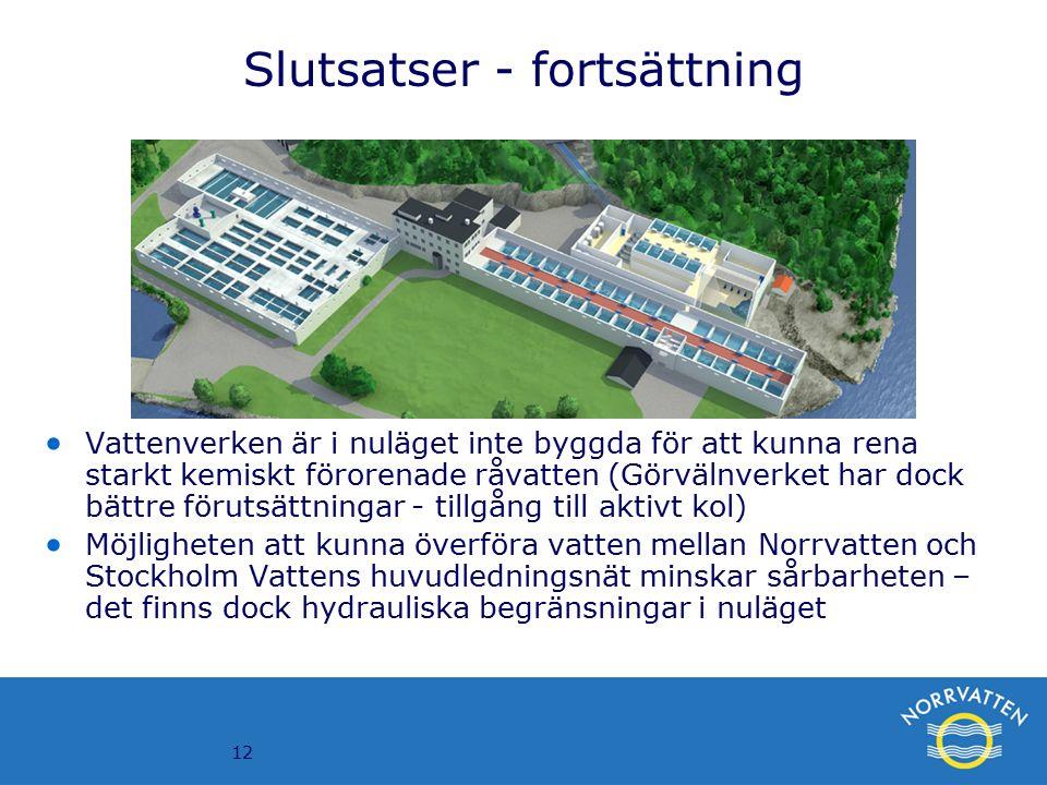 12 Slutsatser - fortsättning  Vattenverken är i nuläget inte byggda för att kunna rena starkt kemiskt förorenade råvatten (Görvälnverket har dock bättre förutsättningar - tillgång till aktivt kol)  Möjligheten att kunna överföra vatten mellan Norrvatten och Stockholm Vattens huvudledningsnät minskar sårbarheten – det finns dock hydrauliska begränsningar i nuläget