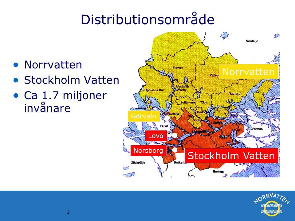 2 Norrvatten Stockholm Vatten Görväln Lovö Norsborg Vattenverk Distributionsområde  Norrvatten  Stockholm Vatten  Ca 1.7 miljoner invånare