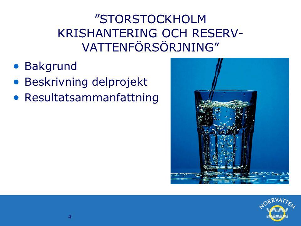 """4 """"STORSTOCKHOLM KRISHANTERING OCH RESERV- VATTENFÖRSÖRJNING""""  Bakgrund  Beskrivning delprojekt  Resultatsammanfattning"""