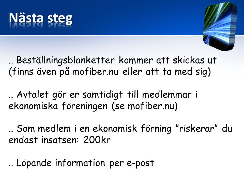 .. Beställningsblanketter kommer att skickas ut (finns även på mofiber.nu eller att ta med sig)..