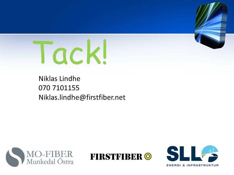 Tack! Niklas Lindhe 070 7101155 Niklas.lindhe@firstfiber.net