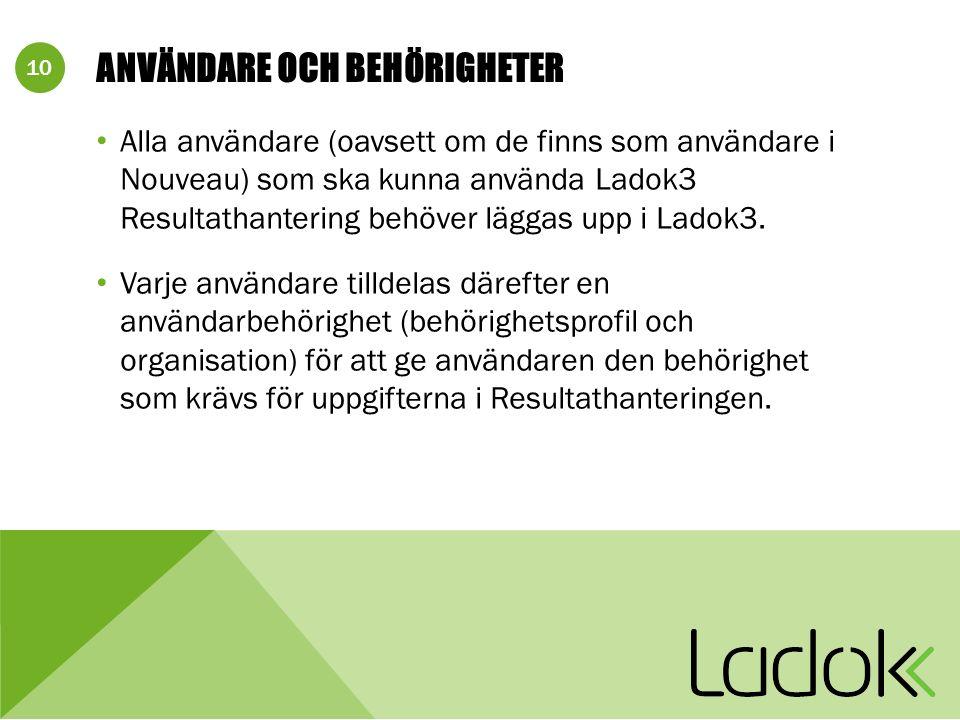 10 ANVÄNDARE OCH BEHÖRIGHETER Alla användare (oavsett om de finns som användare i Nouveau) som ska kunna använda Ladok3 Resultathantering behöver läggas upp i Ladok3.
