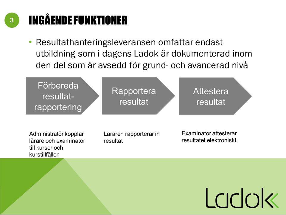 3 INGÅENDE FUNKTIONER Resultathanteringsleveransen omfattar endast utbildning som i dagens Ladok är dokumenterad inom den del som är avsedd för grund- och avancerad nivå