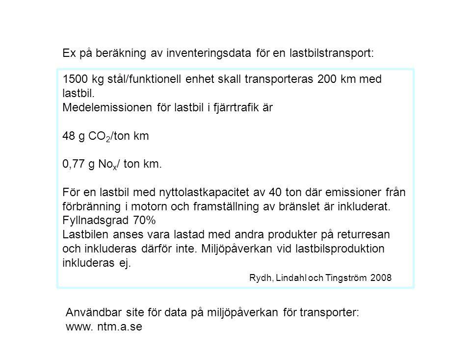 Ex på beräkning av inventeringsdata för en lastbilstransport: 1500 kg stål/funktionell enhet skall transporteras 200 km med lastbil. Medelemissionen f