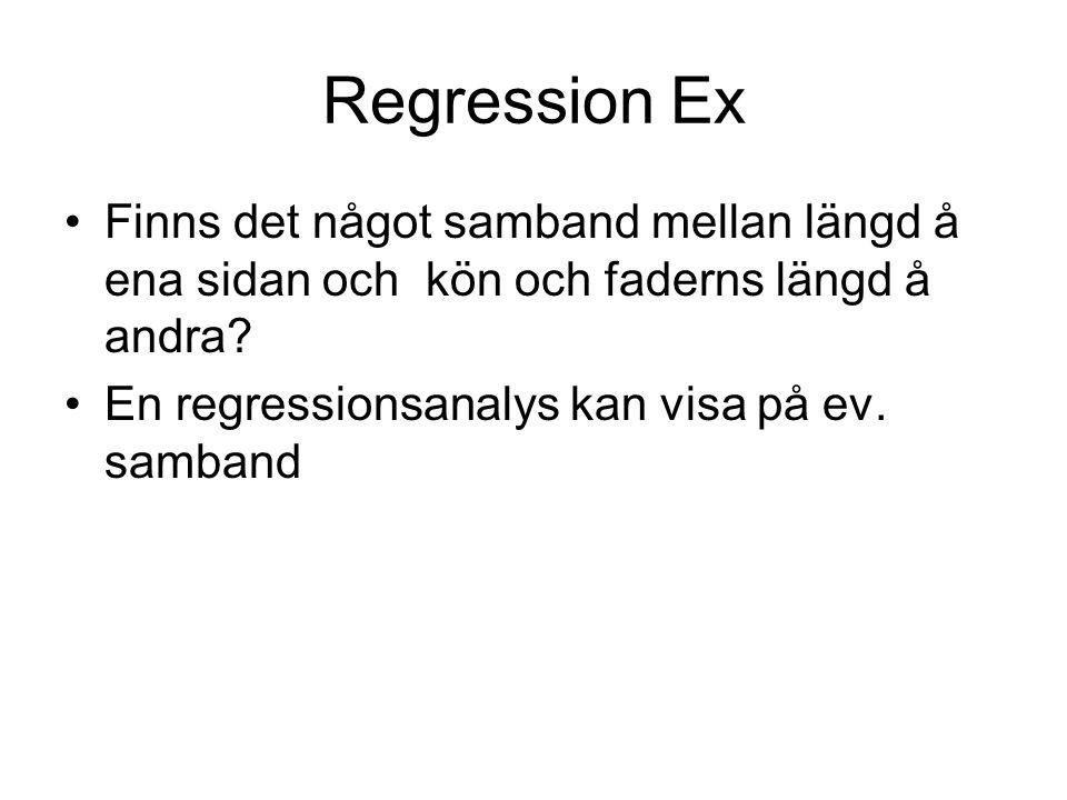 Regression Ex Finns det något samband mellan längd å ena sidan och kön och faderns längd å andra.