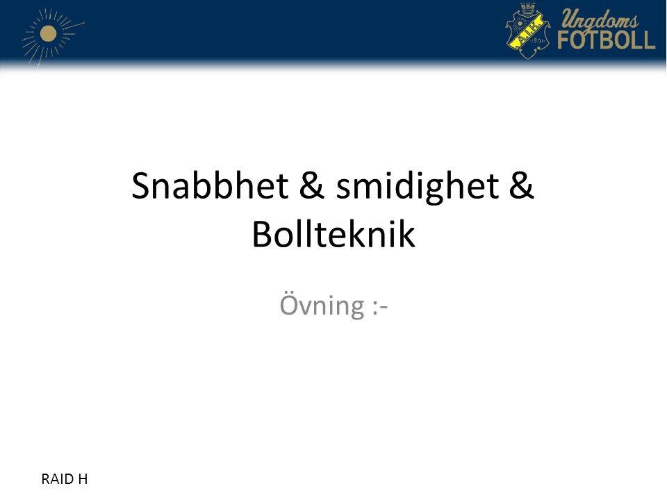 Snabbhet & smidighet & Bollteknik Övning :- RAID H