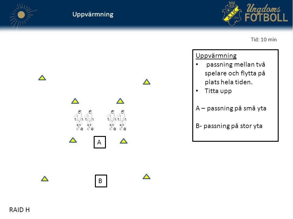 Uppvärmning A B passning mellan två spelare och flytta på plats hela tiden. Titta upp A – passning på små yta B- passning på stor yta RAID H Tid: 10 m
