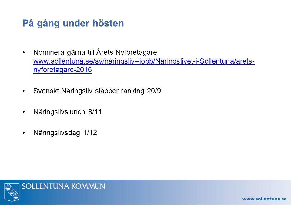 På gång under hösten Nominera gärna till Årets Nyföretagare www.sollentuna.se/sv/naringsliv--jobb/Naringslivet-i-Sollentuna/arets- nyforetagare-2016 www.sollentuna.se/sv/naringsliv--jobb/Naringslivet-i-Sollentuna/arets- nyforetagare-2016 Svenskt Näringsliv släpper ranking 20/9 Näringslivslunch 8/11 Näringslivsdag 1/12