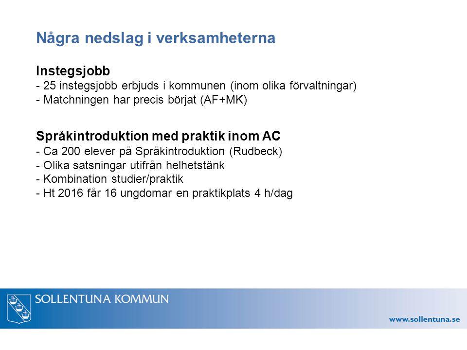 Några nedslag i verksamheterna Instegsjobb - 25 instegsjobb erbjuds i kommunen (inom olika förvaltningar) - Matchningen har precis börjat (AF+MK) Språkintroduktion med praktik inom AC - Ca 200 elever på Språkintroduktion (Rudbeck) - Olika satsningar utifrån helhetstänk - Kombination studier/praktik - Ht 2016 får 16 ungdomar en praktikplats 4 h/dag