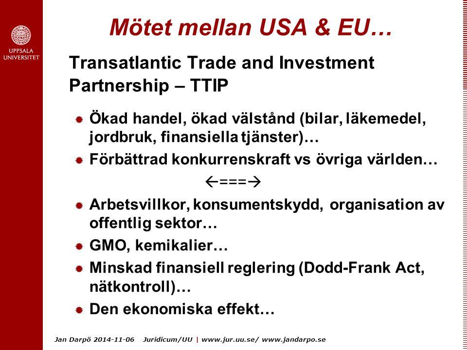 Jan Darpö 2014-11-06 Juridicum/UU | www.jur.uu.se/ www.jandarpo.se Mötet mellan USA & EU… Transatlantic Trade and Investment Partnership – TTIP  Ökad