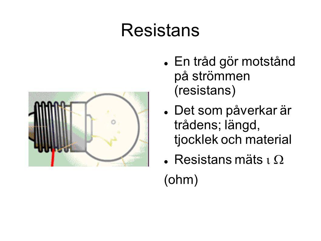 Resistans En tråd gör motstånd på strömmen (resistans) Det som påverkar är trådens; längd, tjocklek och material Resistans mäts  (ohm)