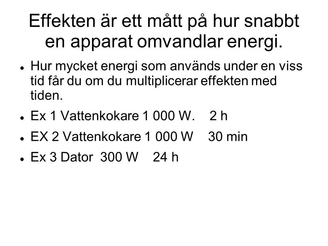Effekten är ett mått på hur snabbt en apparat omvandlar energi. Hur mycket energi som används under en viss tid får du om du multiplicerar effekten me