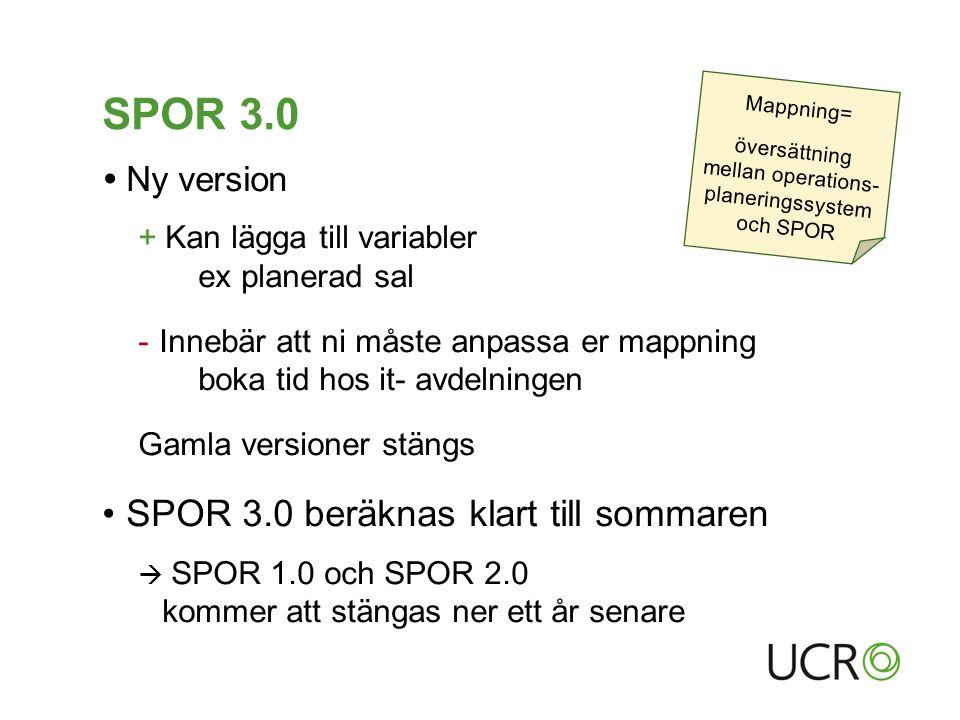 SPOR 3.0  Ny version + Kan lägga till variabler ex planerad sal - Innebär att ni måste anpassa er mappning boka tid hos it- avdelningen Gamla versioner stängs SPOR 3.0 beräknas klart till sommaren  SPOR 1.0 och SPOR 2.0 kommer att stängas ner ett år senare Mappning= översättning mellan operations- planeringssystem och SPOR
