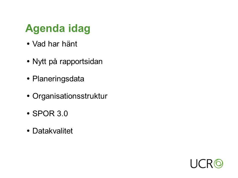 Agenda idag  Vad har hänt  Nytt på rapportsidan  Planeringsdata  Organisationsstruktur  SPOR 3.0  Datakvalitet