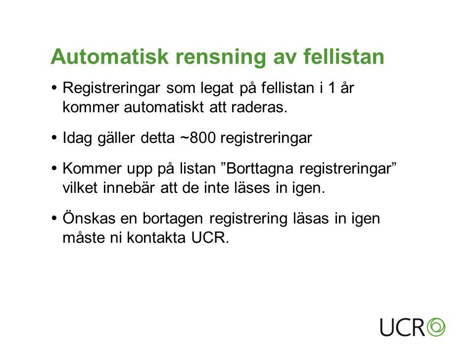 Automatisk rensning av fellistan  Registreringar som legat på fellistan i 1 år kommer automatiskt att raderas.  Idag gäller detta ~800 registreringa
