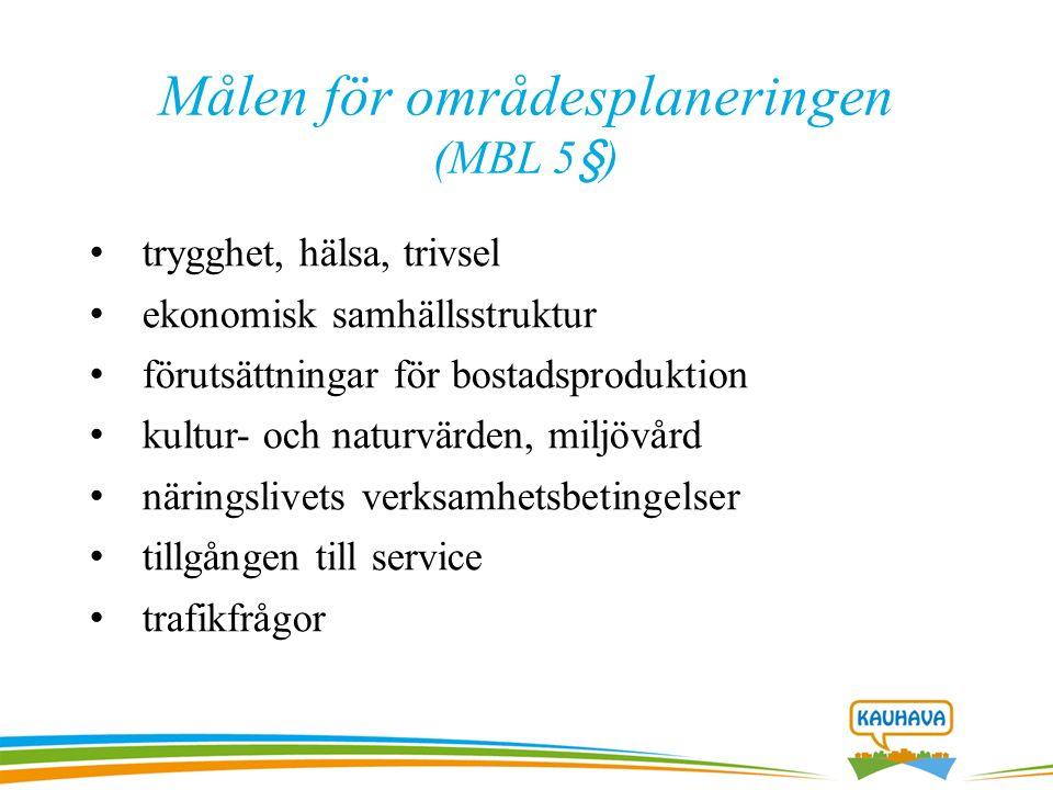 Målen för områdesplaneringen (MBL 5§) trygghet, hälsa, trivsel ekonomisk samhällsstruktur förutsättningar för bostadsproduktion kultur- och naturvärden, miljövård näringslivets verksamhetsbetingelser tillgången till service trafikfrågor