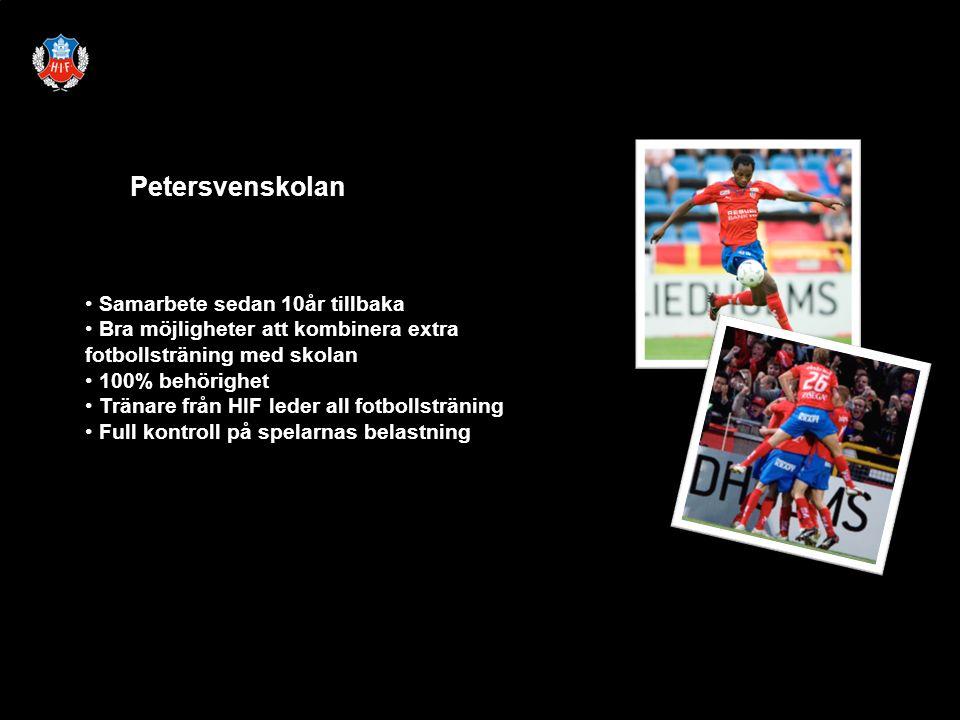 Petersvenskolan Samarbete sedan 10år tillbaka Bra möjligheter att kombinera extra fotbollsträning med skolan 100% behörighet Tränare från HIF leder all fotbollsträning Full kontroll på spelarnas belastning