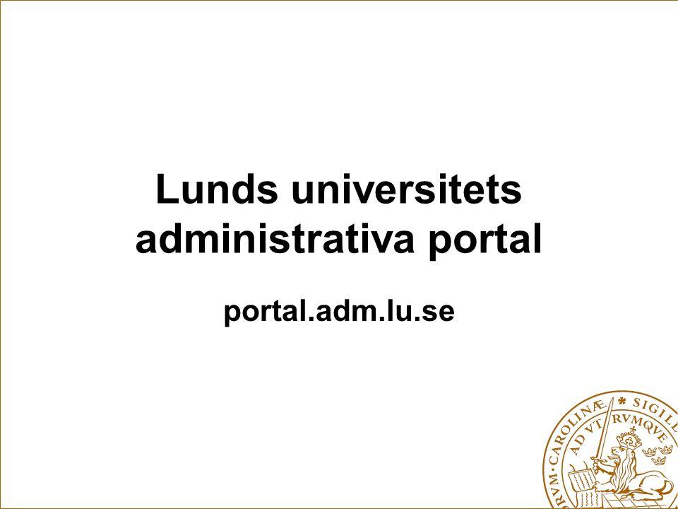 Lunds universitets administrativa portal portal.adm.lu.se