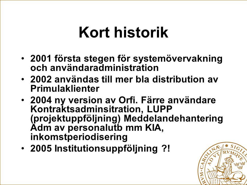Kort historik 2001 första stegen för systemövervakning och användaradministration 2002 användas till mer bla distribution av Primulaklienter 2004 ny version av Orfi.