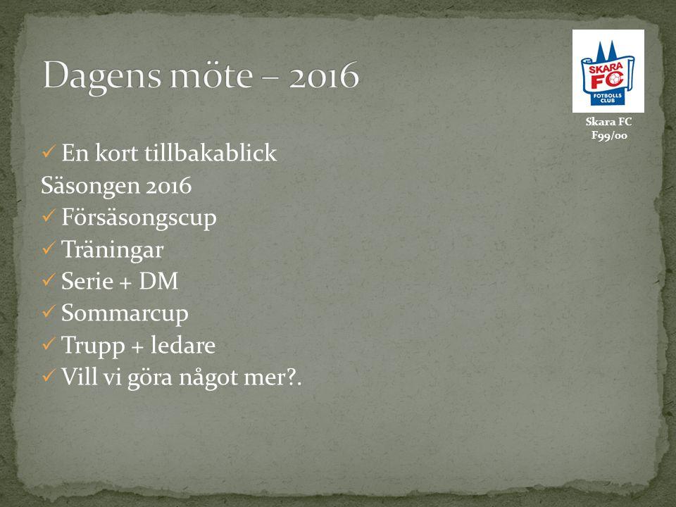 En kort tillbakablick Säsongen 2016 Försäsongscup Träningar Serie + DM Sommarcup Trupp + ledare Vill vi göra något mer?.
