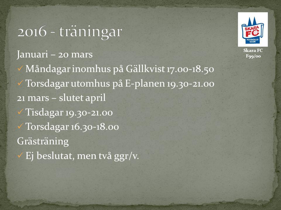 Skara FC F99/00 Januari – 20 mars Måndagar inomhus på Gällkvist 17.00-18.50 Torsdagar utomhus på E-planen 19.30-21.00 21 mars – slutet april Tisdagar 19.30-21.00 Torsdagar 16.30-18.00 Grästräning Ej beslutat, men två ggr/v.