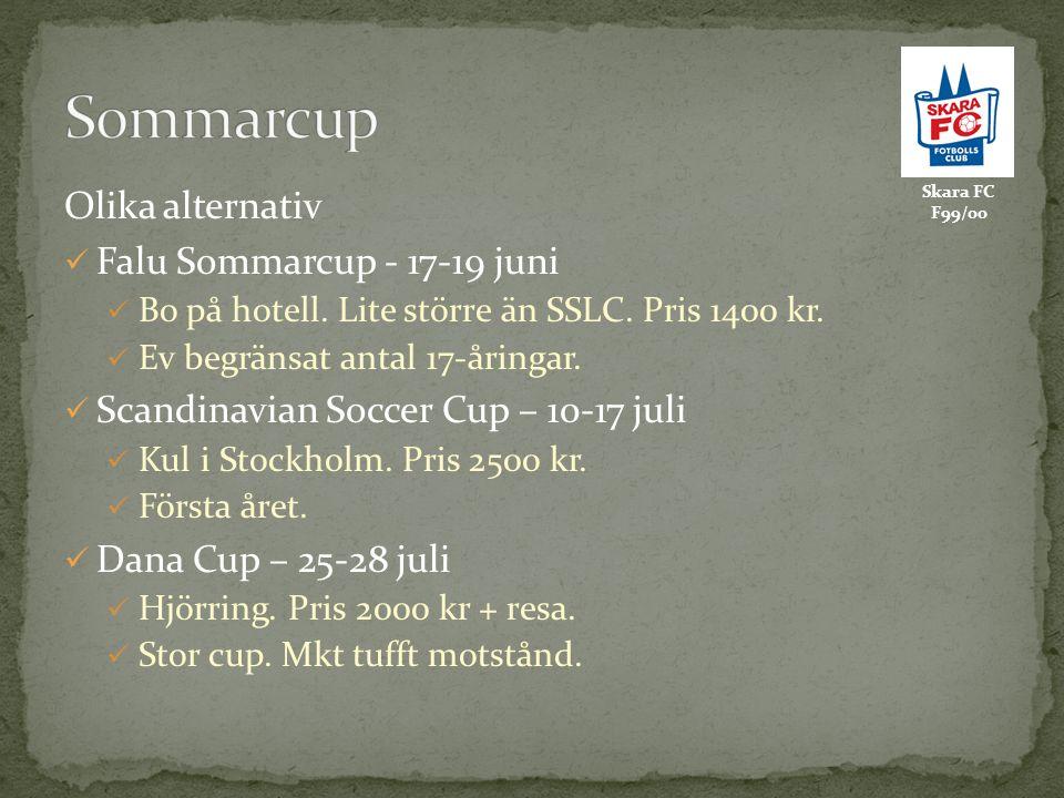 Skara FC F99/00 Olika alternativ Falu Sommarcup - 17-19 juni Bo på hotell. Lite större än SSLC. Pris 1400 kr. Ev begränsat antal 17-åringar. Scandinav
