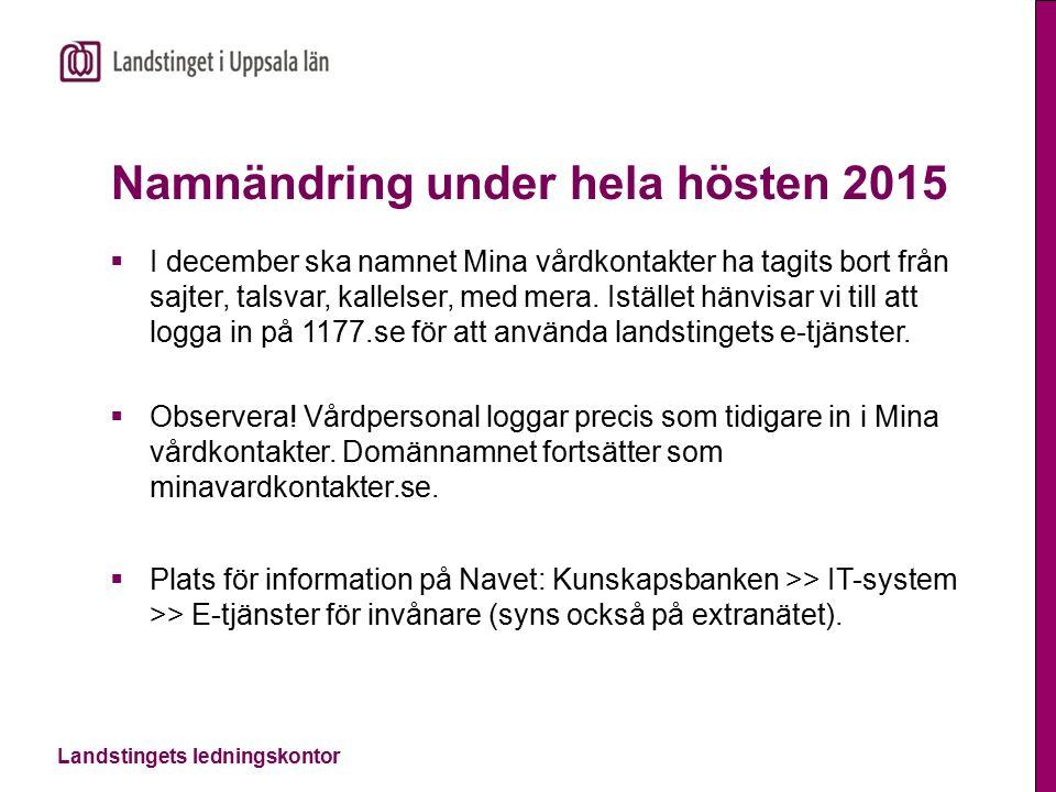 Landstingets ledningskontor Namnändring under hela hösten 2015  I december ska namnet Mina vårdkontakter ha tagits bort från sajter, talsvar, kallelser, med mera.