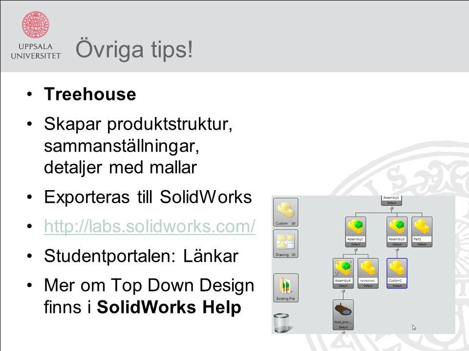 Övriga tips! Treehouse Skapar produktstruktur, sammanställningar, detaljer med mallar Exporteras till SolidWorks http://labs.solidworks.com/ Studentpo