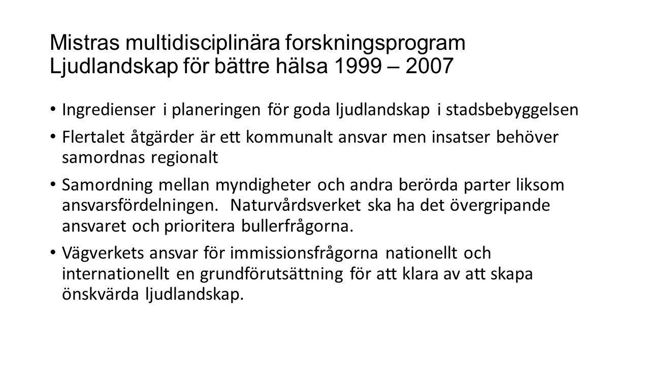 Mistras multidisciplinära forskningsprogram Ljudlandskap för bättre hälsa 1999 – 2007 Ingredienser i planeringen för goda ljudlandskap i stadsbebyggel