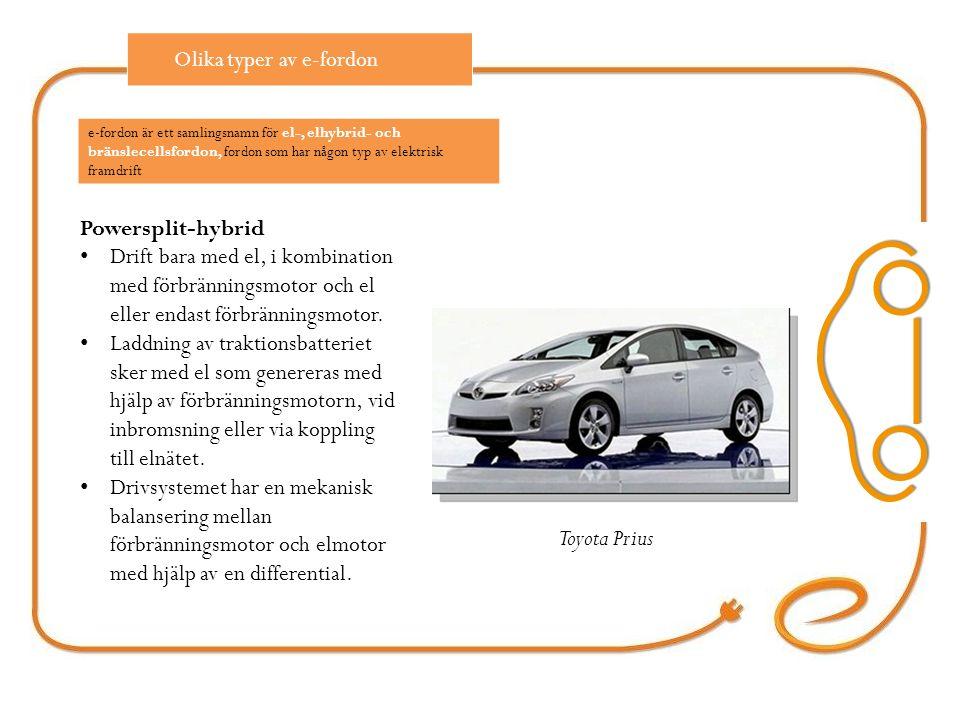 Powersplit-hybrid Drift bara med el, i kombination med förbränningsmotor och el eller endast förbränningsmotor.