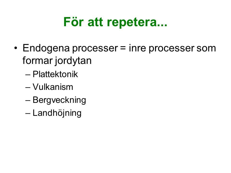 För att repetera... Endogena processer = inre processer som formar jordytan –Plattektonik –Vulkanism –Bergveckning –Landhöjning