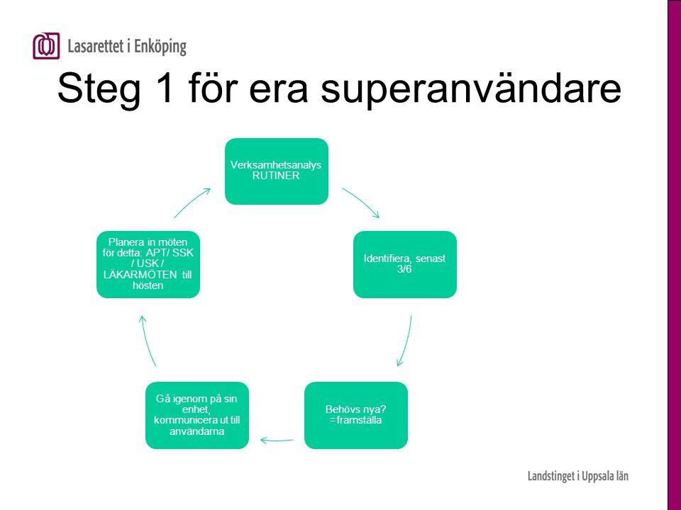 Steg 1 för era superanvändare Verksamhetsanalys RUTINER Identifiera, senast 3/6 Behövs nya.