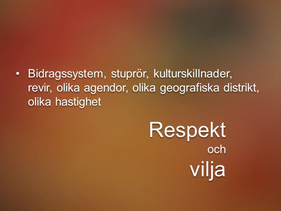 Bidragssystem, stuprör, kulturskillnader, revir Bidragssystem, stuprör, kulturskillnader, revir, olika agendor, olika geografiska distrikt, olika hastighet Respekt och vilja Respekt och vilja