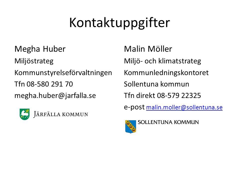 Kontaktuppgifter Megha Huber Miljöstrateg Kommunstyrelseförvaltningen Tfn 08-580 291 70 megha.huber@jarfalla.se Malin Möller Miljö- och klimatstrateg