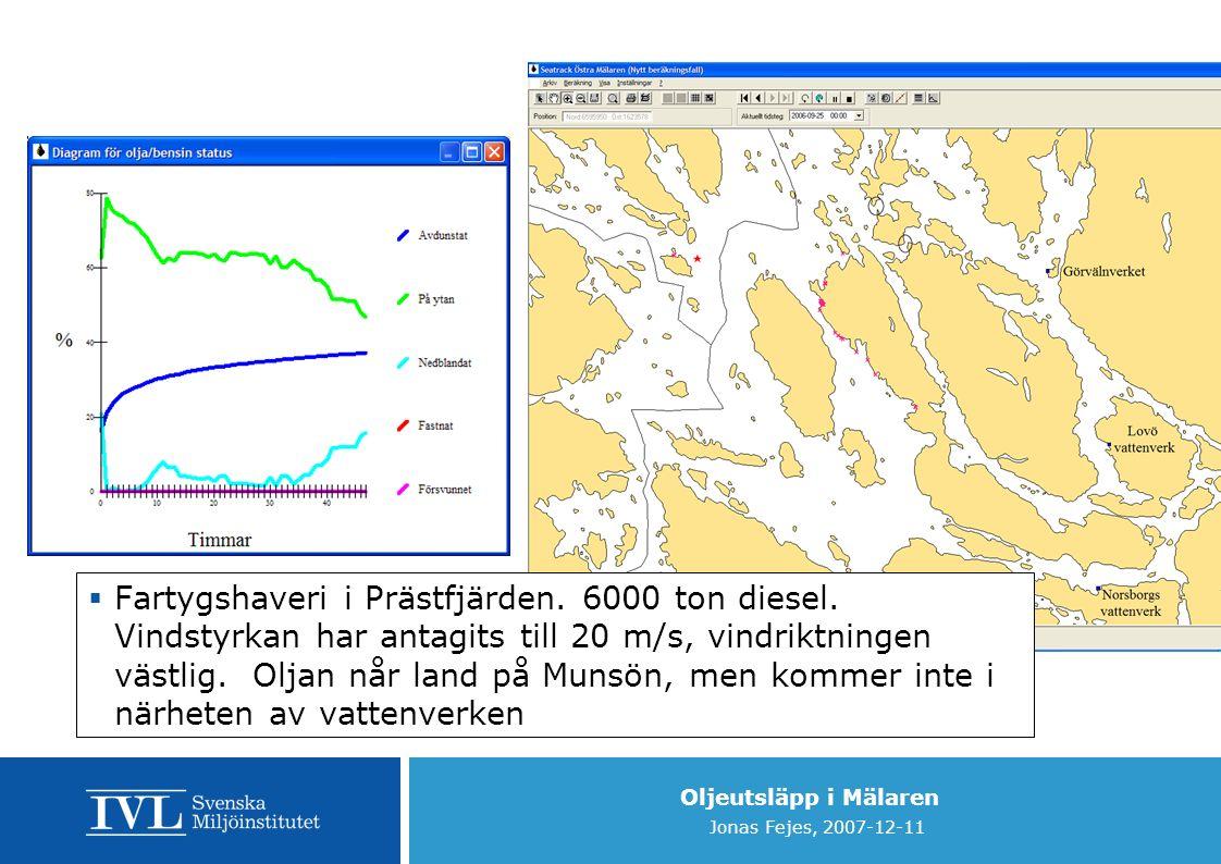 Oljeutsläpp i Mälaren Jonas Fejes, 2007-12-11  Fartygshaveri i Prästfjärden.