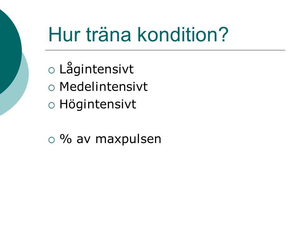 Hur träna kondition  Lågintensivt  Medelintensivt  Högintensivt  % av maxpulsen