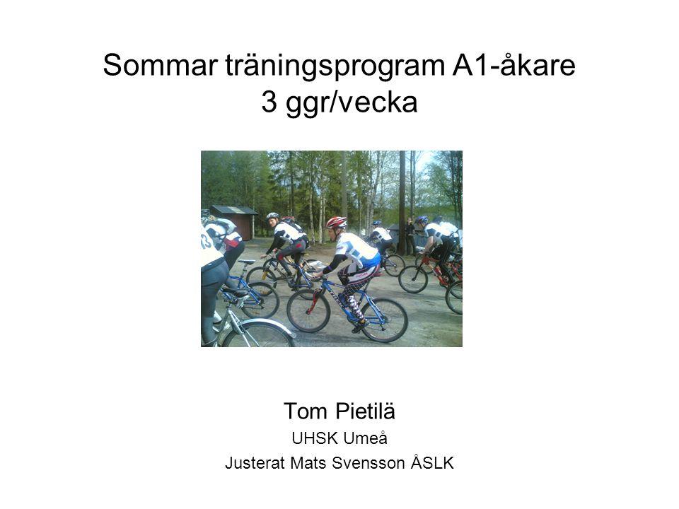 Sommar träningsprogram A1-åkare 3 ggr/vecka Tom Pietilä UHSK Umeå Justerat Mats Svensson ÅSLK