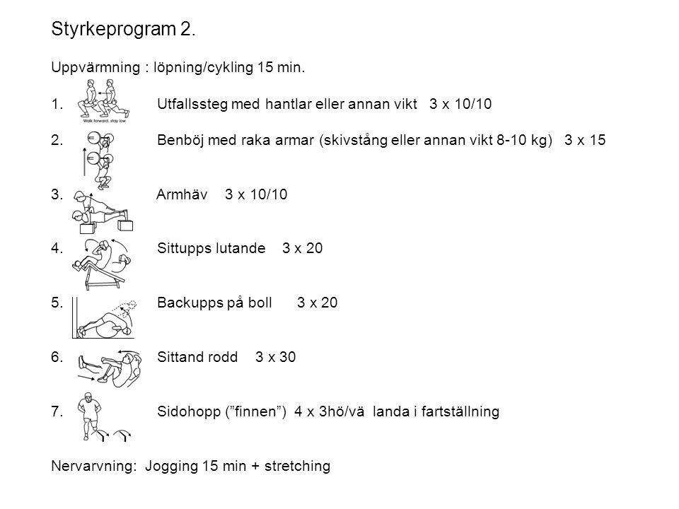 Styrkeprogram 2. Uppvärmning : löpning/cykling 15 min. 1. Utfallssteg med hantlar eller annan vikt 3 x 10/10 2. Benböj med raka armar (skivstång eller