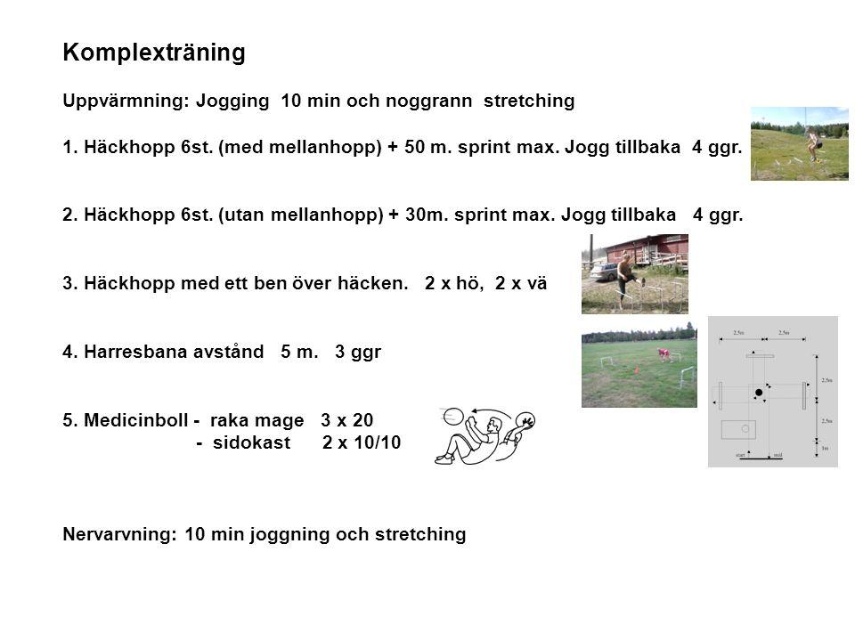 Komplexträning Uppvärmning: Jogging 10 min och noggrann stretching 1.