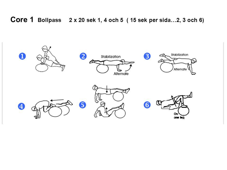 Core 1 Bollpass 2 x 20 sek 1, 4 och 5 ( 15 sek per sida…2, 3 och 6)