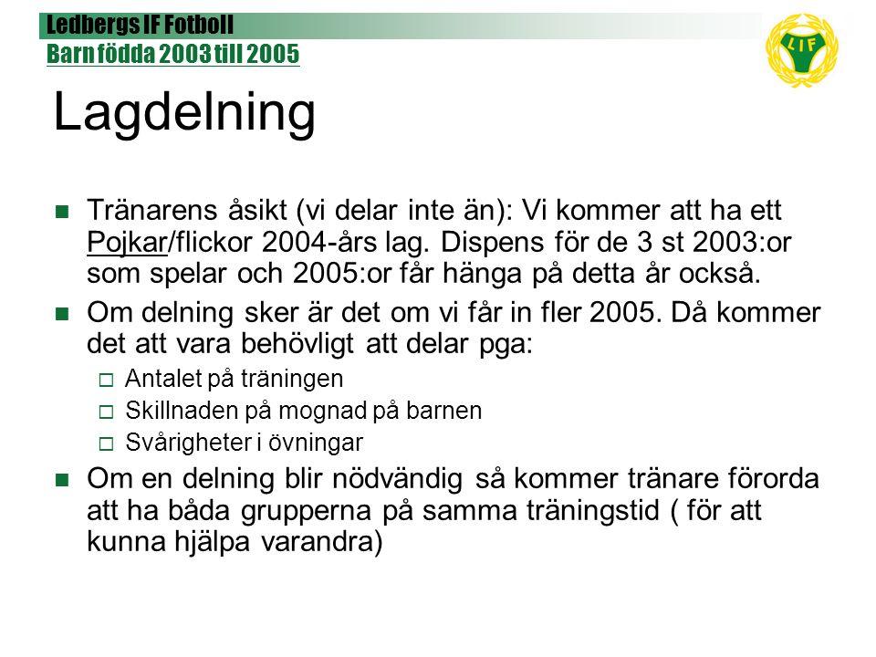 Ledbergs IF Fotboll Barn födda 2003 till 2005 Mål och syfte Syfte  Förstå fotboll  Ha roligt  Bli uppmärksammad  Skapa kamratanda Mål  Att känna sig stolta och motiverade att i framtiden spela matcher med sina lagkamrater