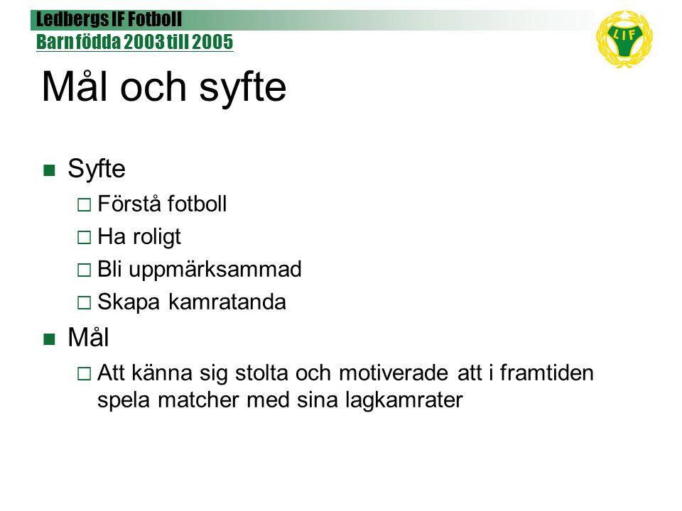 Ledbergs IF Fotboll Barn födda 2003 till 2005 Mål och syfte Syfte  Förstå fotboll  Ha roligt  Bli uppmärksammad  Skapa kamratanda Mål  Att känna