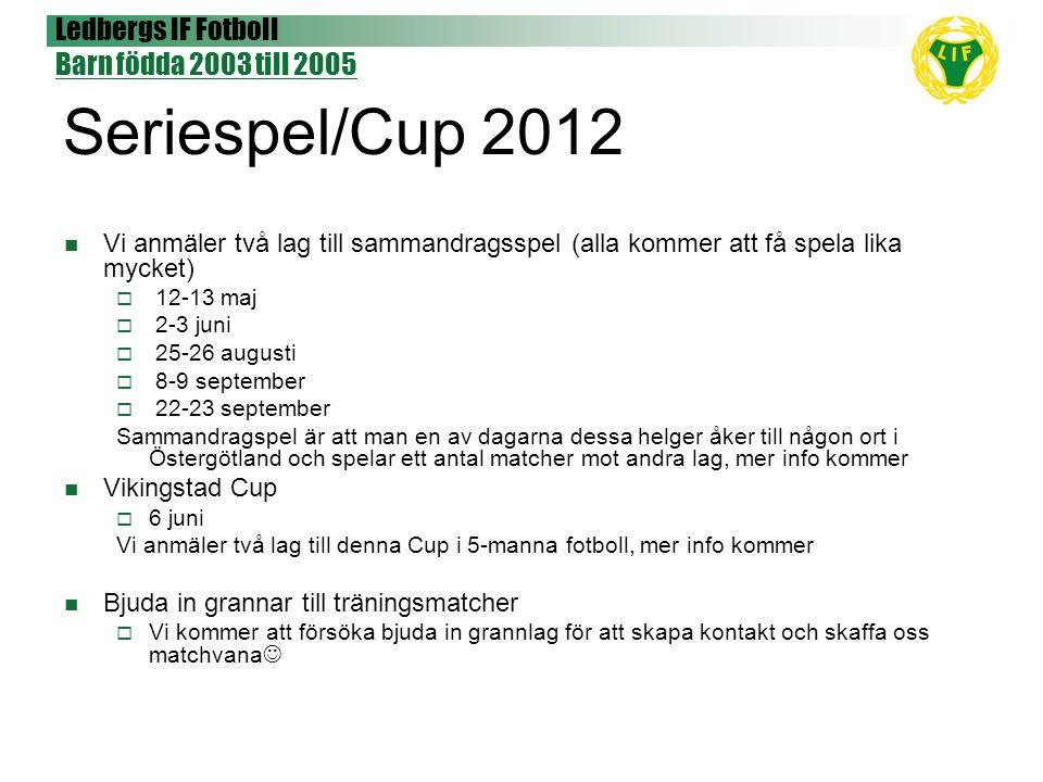 Ledbergs IF Fotboll Barn födda 2003 till 2005 Seriespel/Cup 2012 Vi anmäler två lag till sammandragsspel (alla kommer att få spela lika mycket)  12-1