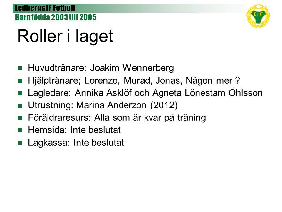 Ledbergs IF Fotboll Barn födda 2003 till 2005 Roller i laget Huvudtränare: Joakim Wennerberg Hjälptränare; Lorenzo, Murad, Jonas, Någon mer ? Lagledar