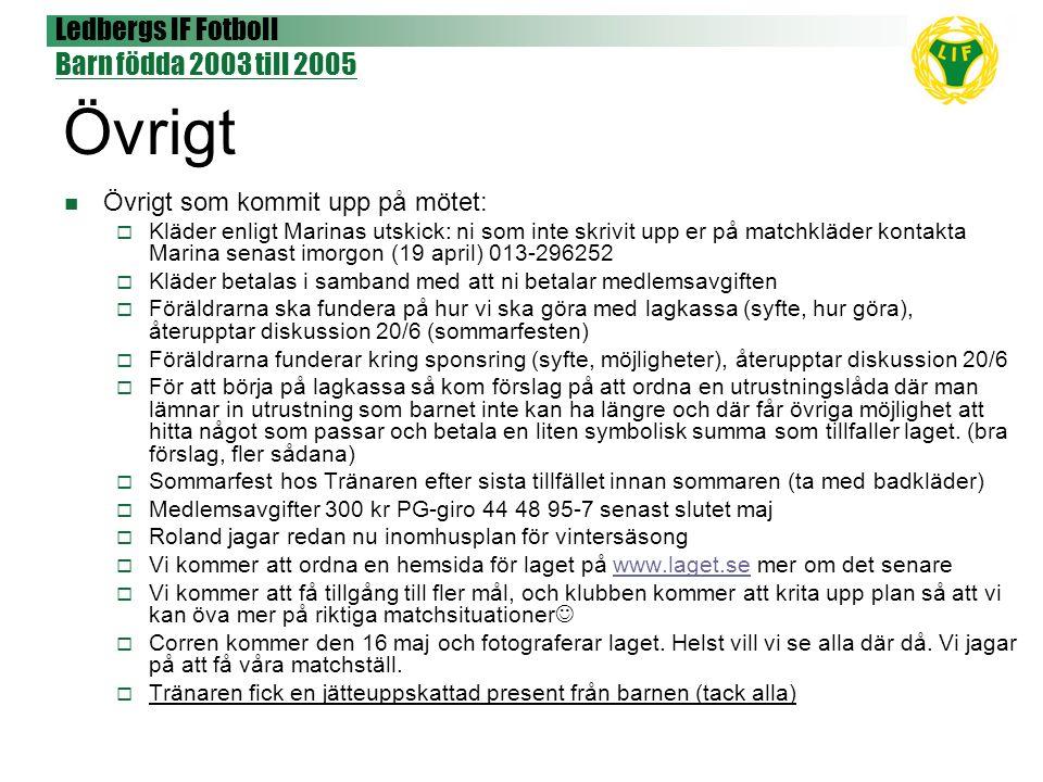 Ledbergs IF Fotboll Barn födda 2003 till 2005 Övrigt Övrigt som kommit upp på mötet:  Kläder enligt Marinas utskick: ni som inte skrivit upp er på ma