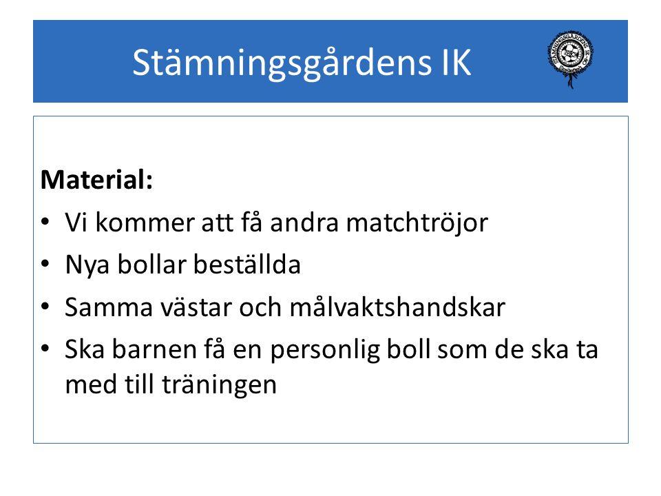 Stämningsgårdens IK Material: Vi kommer att få andra matchtröjor Nya bollar beställda Samma västar och målvaktshandskar Ska barnen få en personlig bol