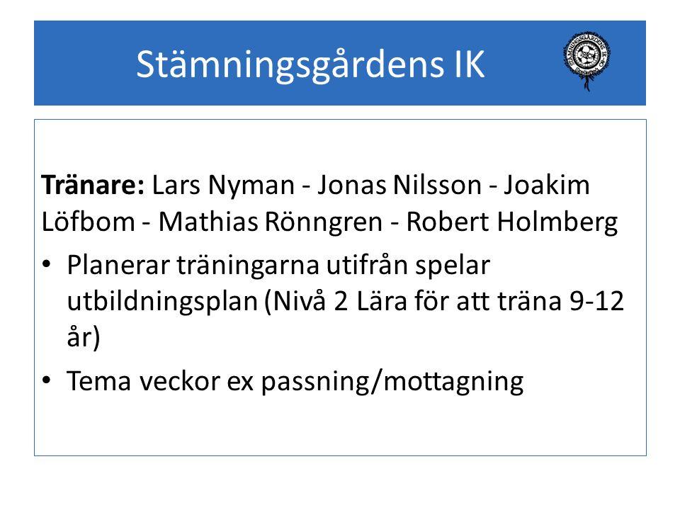 Stämningsgårdens IK Tränare: Lars Nyman - Jonas Nilsson - Joakim Löfbom - Mathias Rönngren - Robert Holmberg Planerar träningarna utifrån spelar utbil